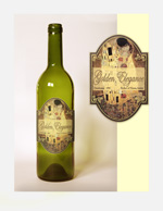 "Design for wine label dubbed ""Golden Elegance."" Label based on Gustav Klimt's ""The Kiss."""